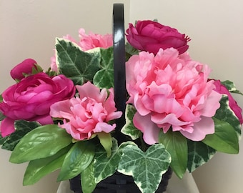 Pink Artificial Flower Arrangement, Pink Flower Basket, Artificial Flower Basket