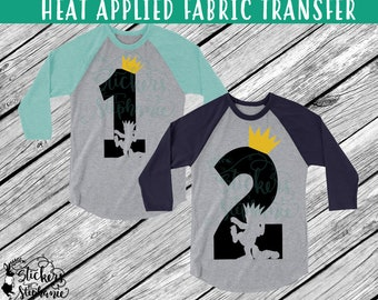 IRON ON v50-Ages 1 2 with Max cutout Where the Wild Things Are T-Shirt Transfer *Specify Color Choice in Notes or BLACK/Gold Vinyl