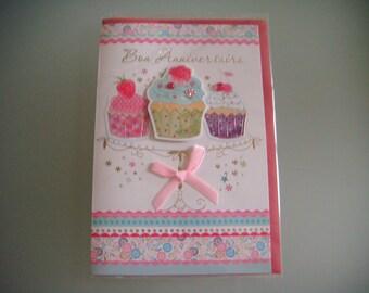 x 1 dual birthday 3D muffins, rhinestones + 1 envelope 17,5 x 11,5 cm
