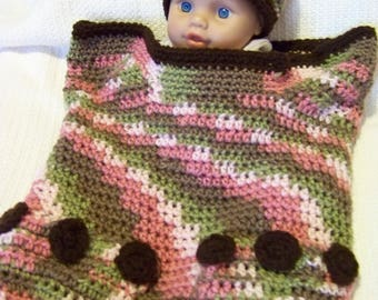 Baby Cocoon, Baby Wrap, Bear Wrap, For Newborn to 6 Months Old, Pink Camo with Black Trim