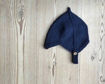 Hand Knit Baby Pixie Hat | Blueberry