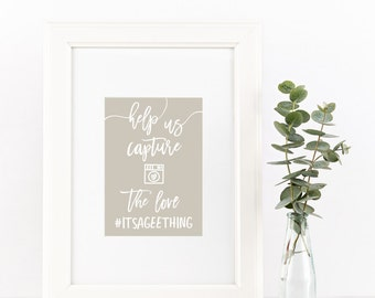 Wedding Hashtag Sign / Help Us Capture The Love / Semi-Custom Wedding Sign / Instagram Sign / Print-at-Home Digital File