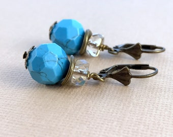 Brass Turquoise Earrings - Blue Gemstone Earrings - Dangle Earrings - Drop Earrings - Crystal Earrings - Boho Jewelry - Gift for Women