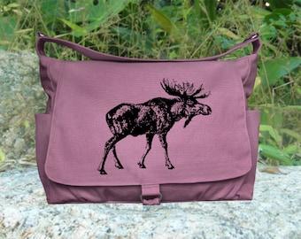 purple messenger bag, diaper bag, shoulder bag for women, girls school bag, market bag, shopping bag with screen print