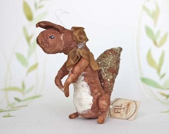 Nostalgischer Christbaumschmuck Wattefigur Eichhörnchen Ornament Spun Cotton