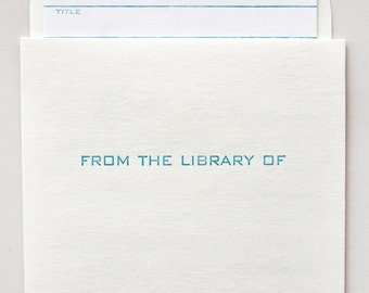 library card and pocket set - letterpress printed
