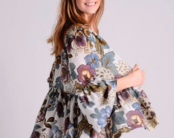 Japanese inspired flower blazer/top with ruffles LIMITED EDITION