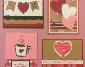 4 Handmade Handstamped Valentine's Day Cards