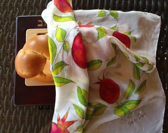 "Hand-Painted Silk Challah Cover (bread cover): ""Pomegranate Garden"" - Pomegranates and Leaves with Silver Detailing"