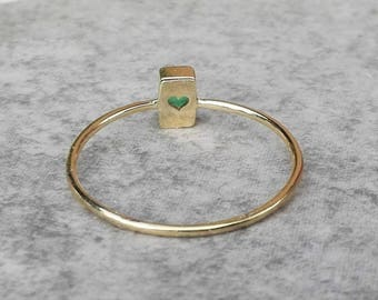 14k gold Emerald ring, Natural Emerald ring, green gemstone ring, Rectangle, Dainty ring, Gift for Her, Anniversary, Birthday