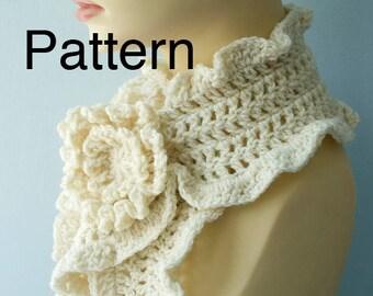 Crochet  Scarf  Pattern Download, Crocheted Flower Scarf Pin, PDF Crochet Pattern for Ruffle Scarf