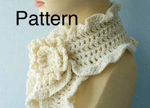 Crochet Scarf Pattern Download Crocheted Flower Scarf Pin