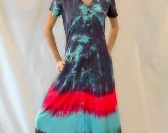 Tie Dye Dress with Button Front and Short Sleeve in Blues