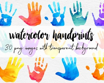 Watercolor Handprint Clipart, Colorful Handprints For Scrapbooking & Card Making 30 PNG Watercolor Images, Watercolor Clipart, BUY7FOR10