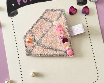 Pink Diamond hair clip for girls. Diamond hair bow. Glittery hair clip. Pink glittery hair clip. felt hair clip. Toddler hair clip. Cute bow