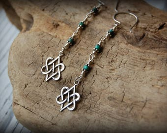 Long Sterling Silver and Turquoise Love Knot Earrings