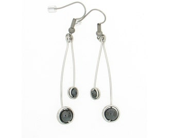 Aluminum decorated with two hematite bead pendant earrings, light weight, classical, black grey