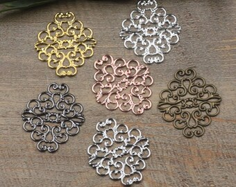 Wholesale 100 Brass Filigree Diamond Floral 36x30mm Raw Brass/ Antique Bronze/ Silver/ Gold/ Rose Gold/ White Gold/ Gun-Metal Plated