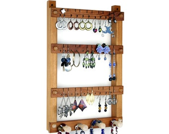 Wooden Jewelry Holder - Hanging Earring Display, Cherry, 4 Jewelry Organizer Pegs. Holds 30 pairs.  Wall Mount Earring Holder