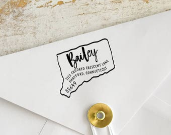 Custom Connecticut Address Stamp, Personalized Connecticut Return Address Stamp, State Stamps