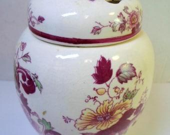 Vintage Pottery POTPOURRI JAR Pierced Lid FLORAL Pattern Masons Mandalay