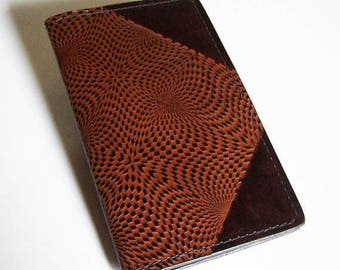 "Leather Field Notes or Moleskine Journal Cover - (Fits Either 3.5"" x 5.5"" Book)  Leather Notebook - Kaleidoscope Design"