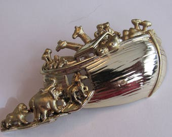 Lovely Vintage Noah's ark Pin Brooch silver and gold toned