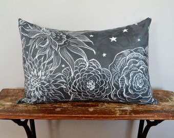 Starry Night Gray and White Pillow , Floral Pillow Cover, 14x20 Lumbar Pillow, Christmas Gifts for Mom, Scratchboard Art on Faux Suede