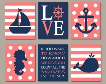 Girl Nautical Wall Art, Nautical Nursery Decor, Prints Or Canvas, Coral Navy Nursery, Girl Nursery Pictures, Sailboat Whale Anchor, Set of 6