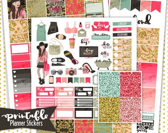 Fashionista Deluxe Weekly Kit | PRINTABLE Planner Stickers | Pdf, Jpg, and Png Format | ECLP Vertical Planner Stickers