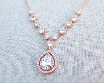Cubic Zirconia Pavé Rose Gold Adjustable Bridal Necklace, Faux White Diamond Halo Wedding Jewelry, Delicate Wedding Jewelry