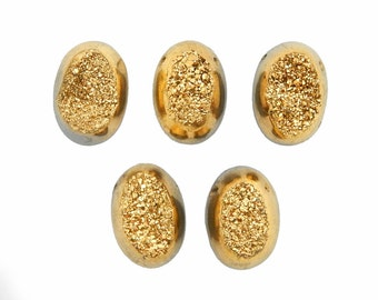 5pcs Gold Colored Titanium Oval Shaped Druzy Cabochon 10mm x 14mm Top Side Drilled Bead - Bulk of 5 (RK78B10-02)