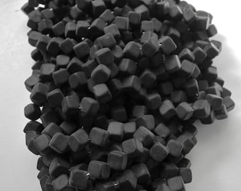 100 Corner-Drilled Bead -  Czech Glass  - Matte Black - 8 mm - 2.2 oz