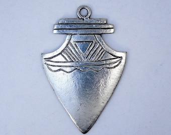 Brass Pendant- Silver Tone Engraved Arrowhead Pendant (S43-B6a-02)