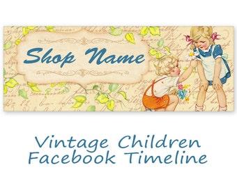 Blue Vintage Facebook Banner Timeline Cover - Digital Download - VINTAGE FACEBOOK TIMELINE