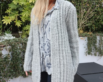 "Cardigan Women - Hand knitted cardigan - Cardigan - Jacket - Knitting - Handmade - Grey Cardigan ""Ashley"""