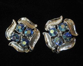 Silver Sapphire Blue AB Rhinestone Earrings
