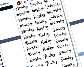 Day of the Week Covers  - Planner Stickers for Erin Condren Life Planners - F6