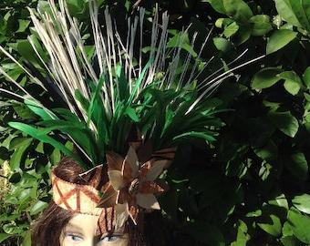 Tahitian & Cook Islands/Rarotongan Headpiece. Authentic Tapa Cloth And Lauhala Headpiece! Perfect For Soloist, Group Or Halau Dancers, Luau.
