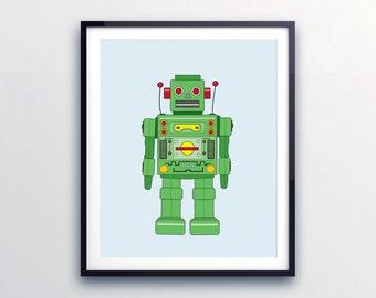 Robot print, Kids wall art, Robot room decor, Kids room decor, Robot art, Kids illustration, Retro robot, Retro room decor, Art for kids