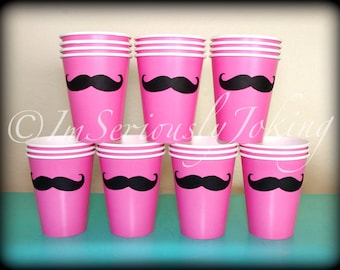 24 Mustache Paper Party Cups-Mustache Cups-Little Man Party-Mustache Party-Party cups-Birthday cups-The Handlebar- PINK cups-Little Miss