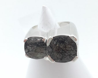 Black Rutilated Quartz and Sterling Silver Ring