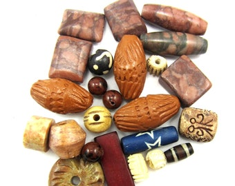 23 Handmade clay beads primative rustic stoneware beads kiln fired artisan bead lot carved bone sandstone jasper beads DS1(SB2) SR