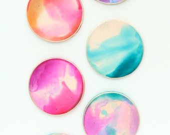 Watercolor Leather Coasters - Home Decor  - Gift - Abstract Art