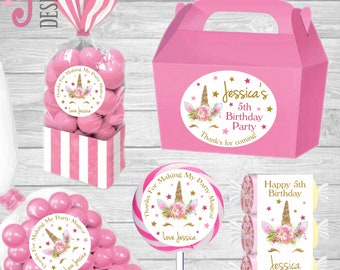 Personalised Gold Unicorn Birthday Stickers Great for Boxes ,Bags ,Candy/Sweet Cones ,Love Heart Sweets ,Lollipops ,Favours