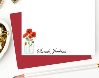 Poppy personalized note cards, Personalized stationery,Stationary for her, flat note cards,custom notecards,thank you cards, set of 10,PS018