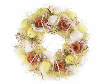 Easter Wreath with Eggs and Wooden Roses