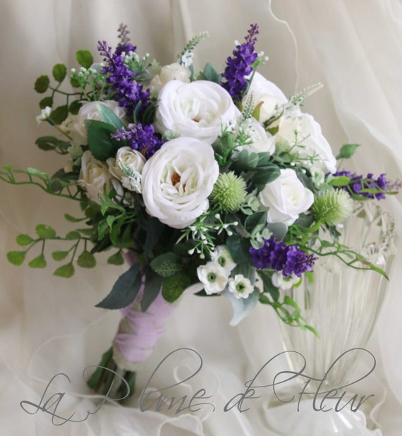 Scottish wedding bouquet. Silk flower bouquet. White purple