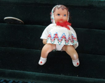 1960's German Soft Rubber Jointed Baby Doll Shackman Vintage Doll House Doll