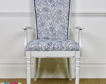 S O L D ! !   Occasional Chair, Bedroom Chair, Blue Chair, White Chair, Paisley Chair